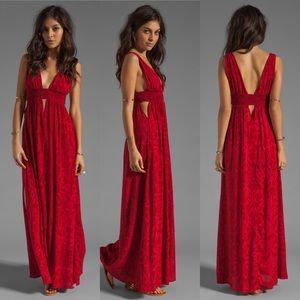 Indah Anjeli Empire Maxi Dress with Cutouts